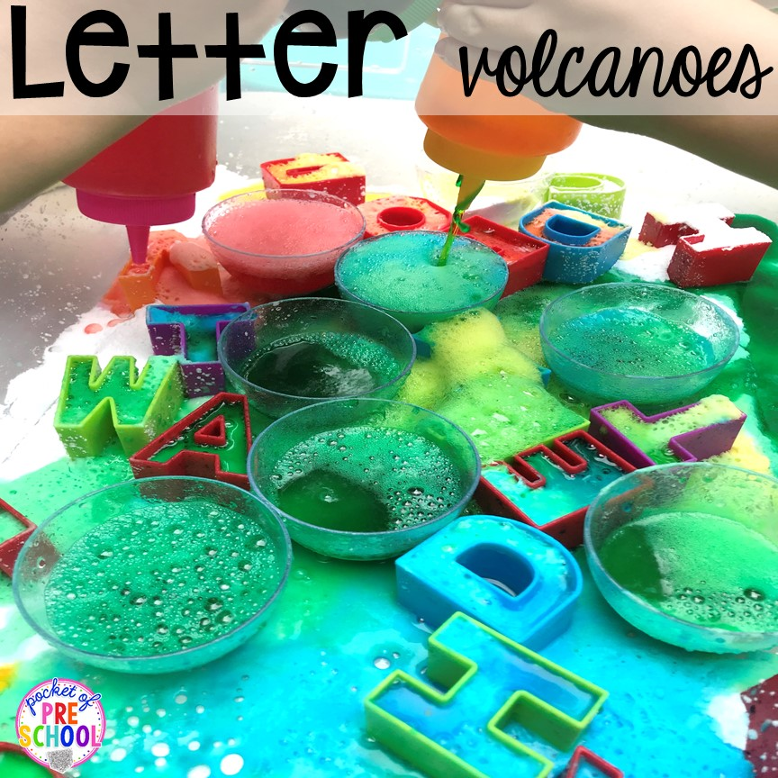 Letter volcanoes plus tons of summer themed activities your preschool, pre-k, and kindergarten kiddos will LOVE! #preschool #pre-k #summertheme