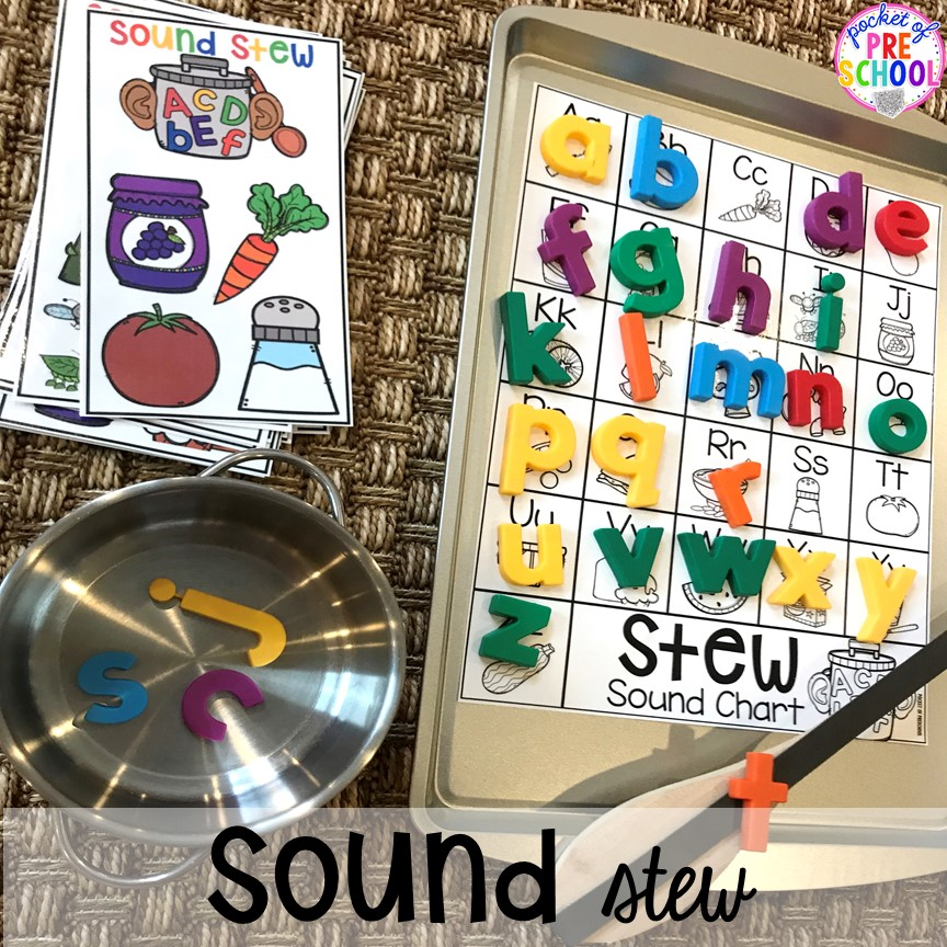 Beginning sound Stew! Literacy Stews is a FUN letter, beginning sound, sight word, and name game for preschool, pre-k, and kindergarten. #preschool #prek #lettergame #sightwords