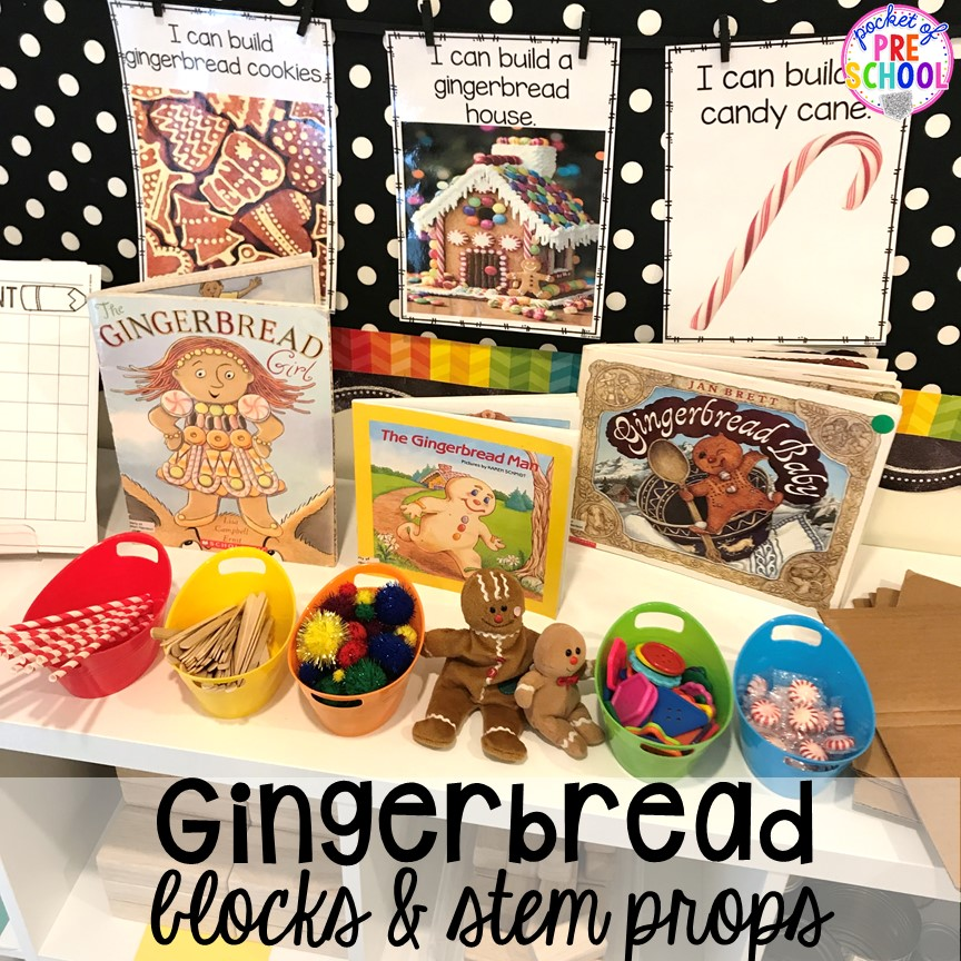 Gingerbread STEM building props in the blocks center for a Gingerbread theme! #gingerbread #preschool #prek