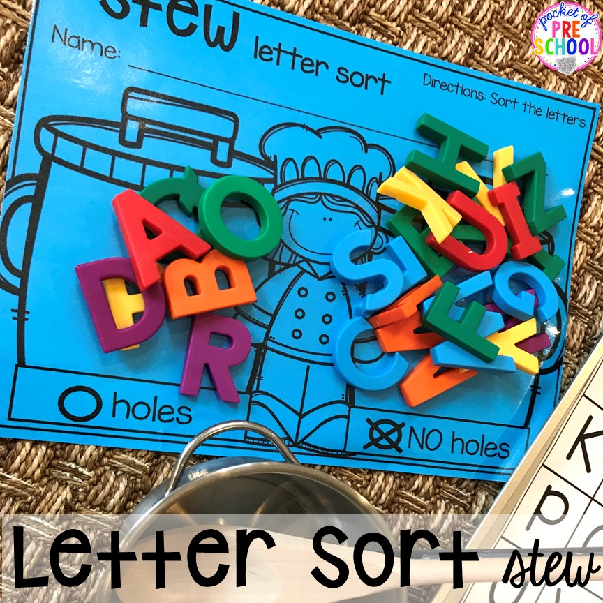 Letter sort! Literacy Stews is a FUN letter, beginning sound, sight word, and name game for preschool, pre-k, and kindergarten. #preschool #prek #lettergame #sightwords