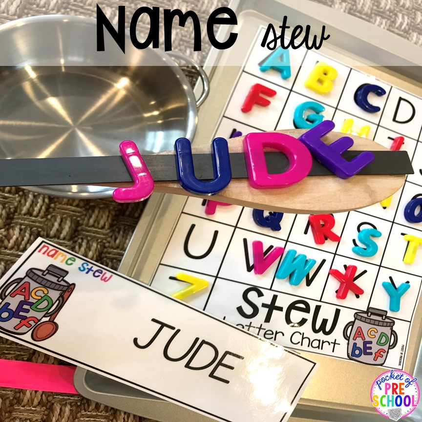 Name game! Literacy Stews is a FUN letter, beginning sound, sight word, and name game for preschool, pre-k, and kindergarten. #preschool #prek #lettergame #sightwords