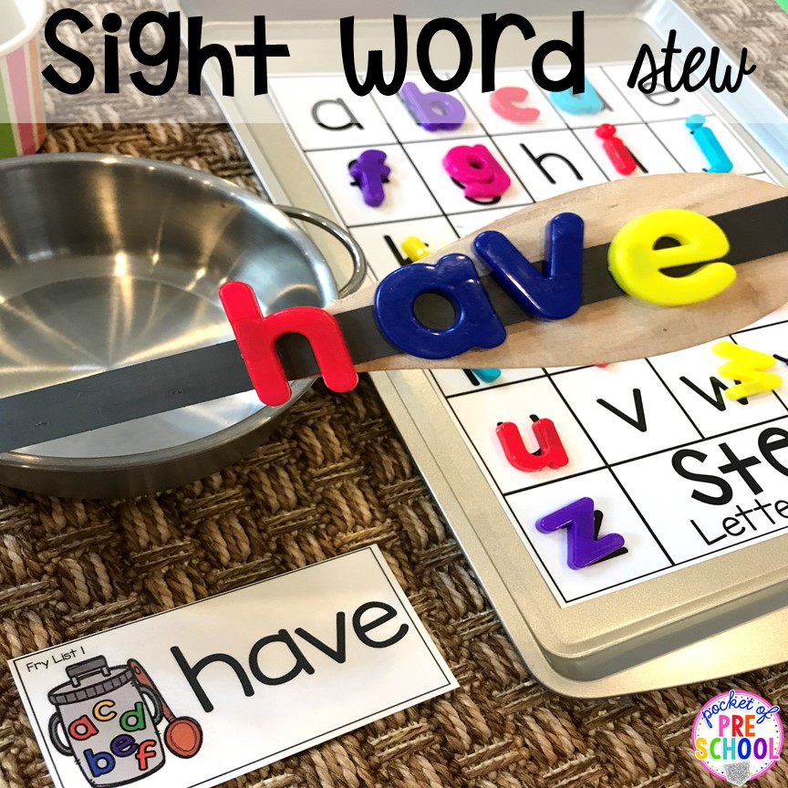 Sight word game! Literacy Stews is a FUN letter, beginning sound, sight word, and name game for preschool, pre-k, and kindergarten. #preschool #prek #lettergame #sightwords
