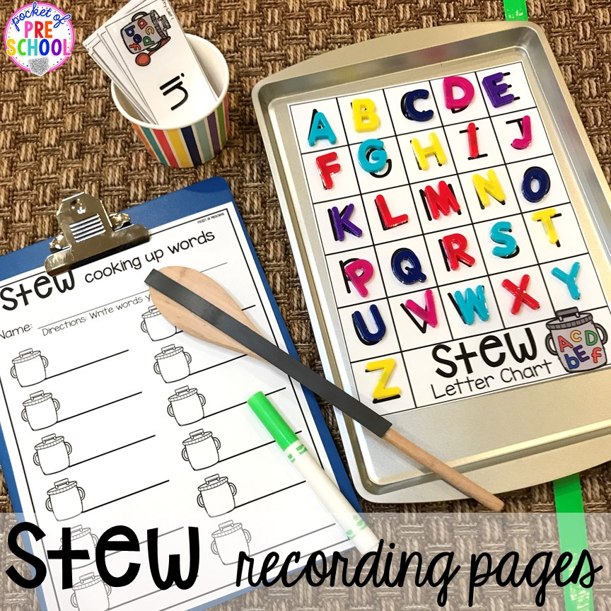 Sight word stew! Literacy Stews is a FUN letter, beginning sound, sight word, and name game for preschool, pre-k, and kindergarten. #preschool #prek #lettergame #sightwords