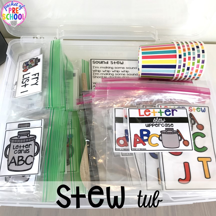 Stew organization! Literacy Stews is a FUN letter, beginning sound, sight word, and name game for preschool, pre-k, and kindergarten. #preschool #prek #lettergame #sightwords