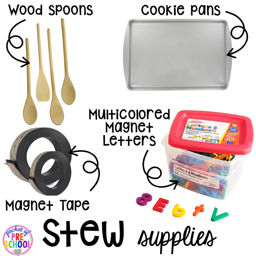 Supplies! Literacy Stews is a FUN letter, beginning sound, sight word, and name game for preschool, pre-k, and kindergarten. #preschool #prek #lettergame #sightwords