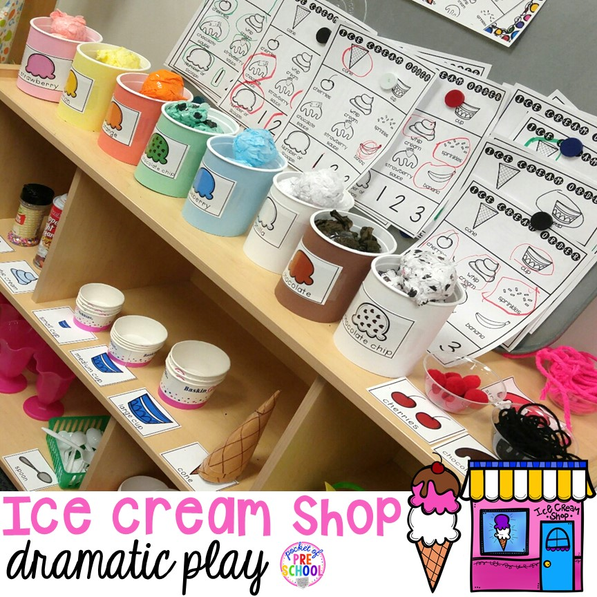 Ice Cream Shop dramatic play - Check out all my DIY tips and tricks to set one up in your preschool, pre-k, or kindergarten classroom. #icecreamshop #icecreamtheme #dramaticplay