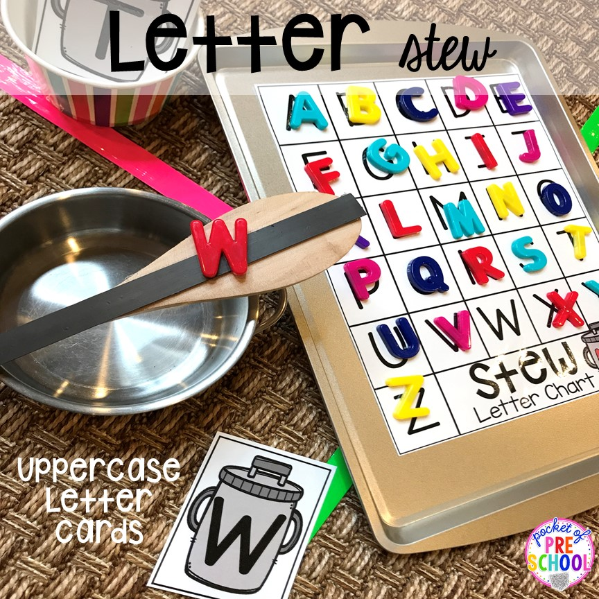 Letter stew! Literacy Stews is a FUN letter, beginning sound, sight word, and name game for preschool, pre-k, and kindergarten. #preschool #prek #lettergame #sightwords