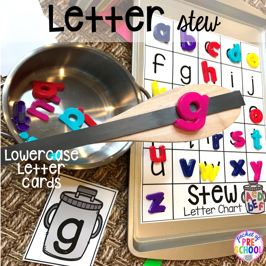 Magnet letter game! Literacy Stews is a FUN letter, beginning sound, sight word, and name game for preschool, pre-k, and kindergarten. #preschool #prek #lettergame #sightwords