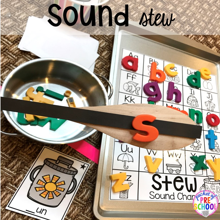 Beginning sound game! Literacy Stews is a FUN letter, beginning sound, sight word, and name game for preschool, pre-k, and kindergarten. #preschool #prek #lettergame #sightwords