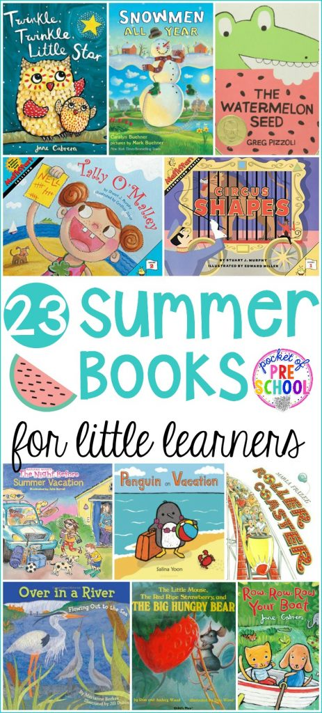 Giant summer themed book list perfect for circle time that your preschool, pre-k, and kindergarten love listening to! #preschool #prek #summertheme #booklist