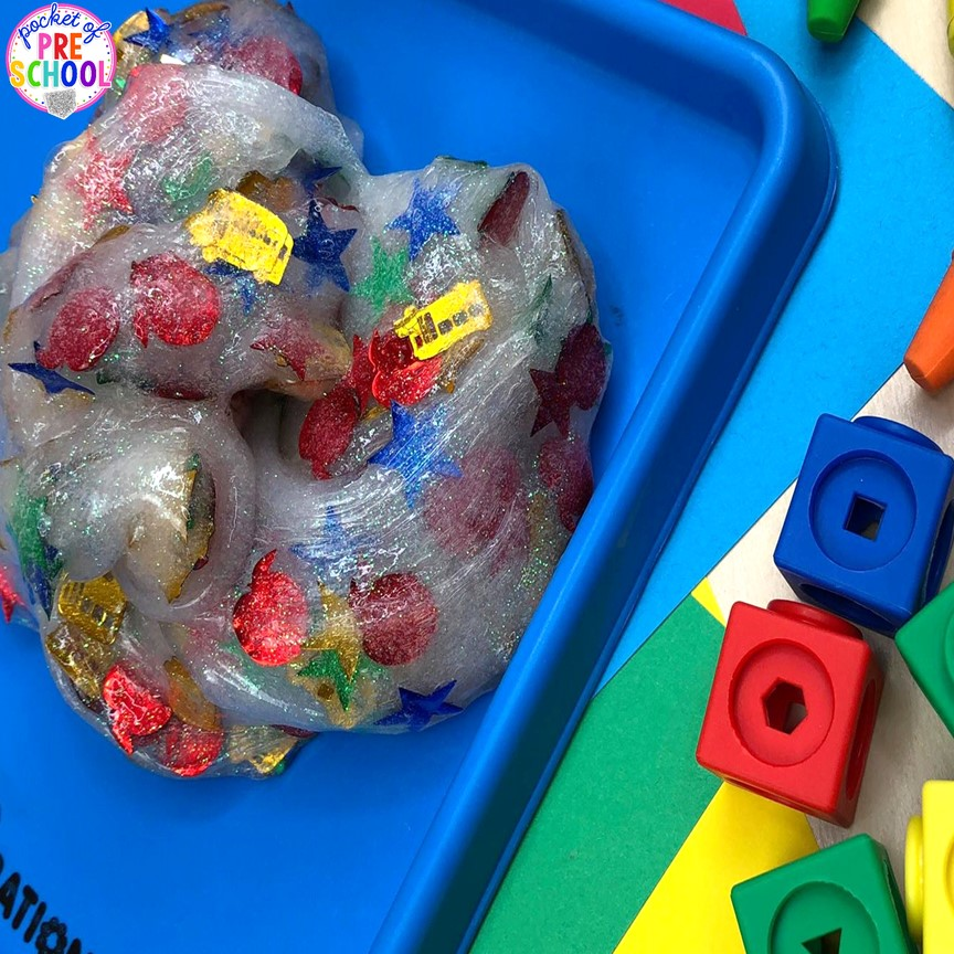 Back to school slime! A fun sensory experience for preschool, pre-k, and kindergarten. #slime #schoolltheme #preschool #prek