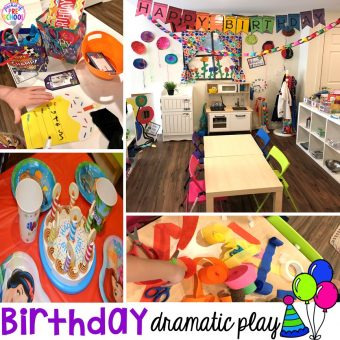 How to set up a Birthday Party dramatic play. Perfect for a preschool & pre-k classroom. #dramaticplay #preschool #pre-k #birthdaytheme