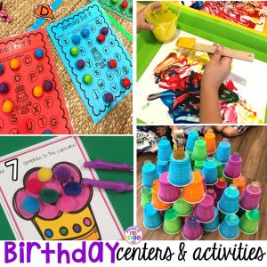 Birthday theme activities and centers preschool, pre-k, and kinder students will LOVE! FREE play dough mats too. #birthdaytheme #preschool #pre