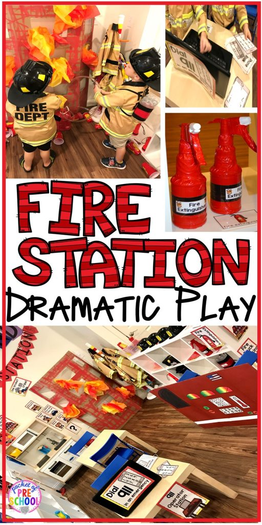 Fire Station dramatic play is so much for a fire safety theme or community helpers theme. #dramaticplay #firestationdramaticplay #preschool #prek #firesafteytheme
