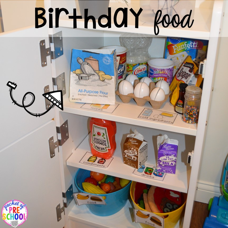 Birthday food props for a Birthday Party in dramatic play. Perfect for a preschool & pre-k classroom. #dramaticplay #preschool #pre-k #birthdaytheme