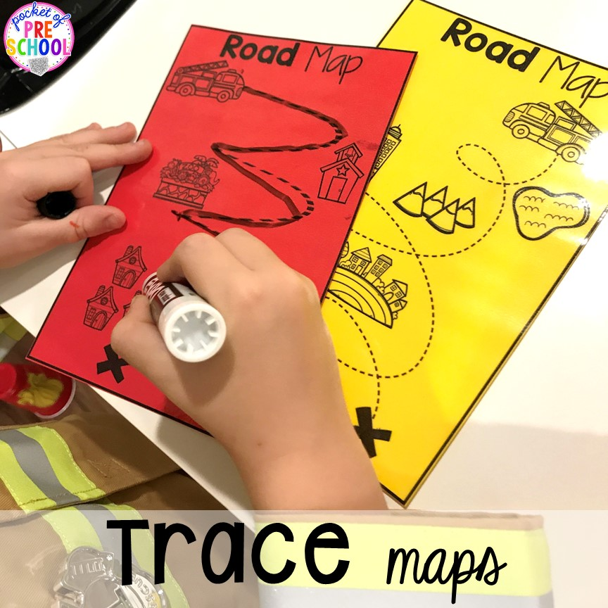 Neighborhood maps for the Fire Station dramatic play! It's so much for a fire safety theme or community helpers theme. #dramaticplay #firestationdramaticplay #preschool #prek #firesafteytheme