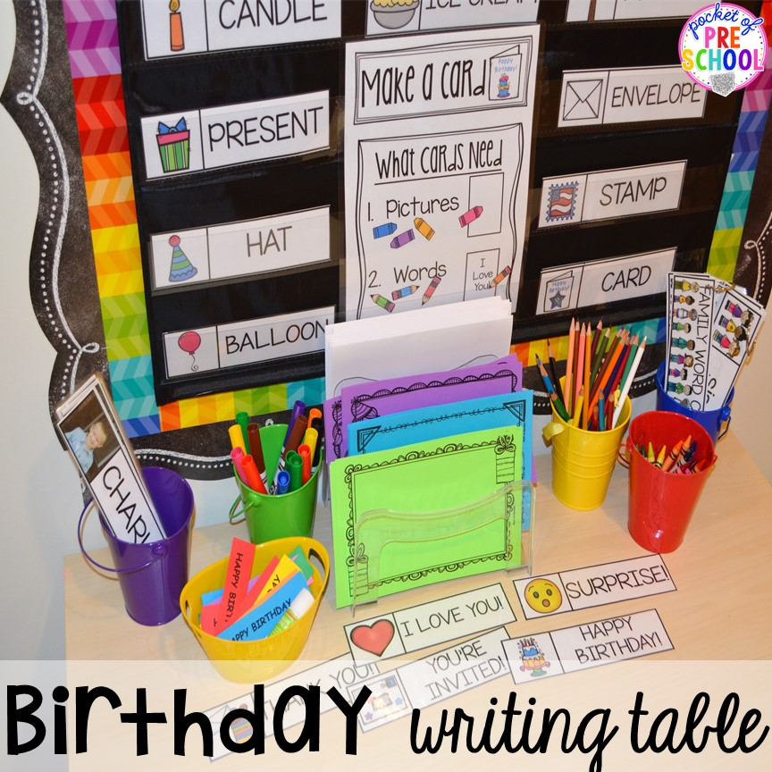 Birthday themed writing center! Birthday theme activities and centers preschool, pre-k, and kinder students will LOVE!
