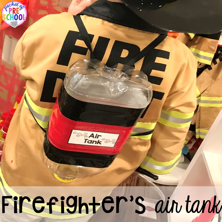 DIY air tank for the Fire Station dramatic play! It's so much for a fire safety theme or community helpers theme. #dramaticplay #firestationdramaticplay #preschool #prek #firesafteytheme