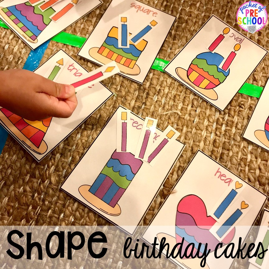 Birthday cake shape game! Birthday theme activities and centers preschool, pre-k, and kinder students will LOVE!