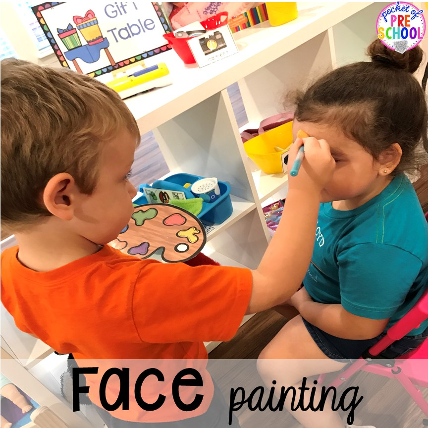 Face painting for a Birthday Party in dramatic play. Perfect for a preschool & pre-k classroom. #dramaticplay #preschool #pre-k #birthdaytheme