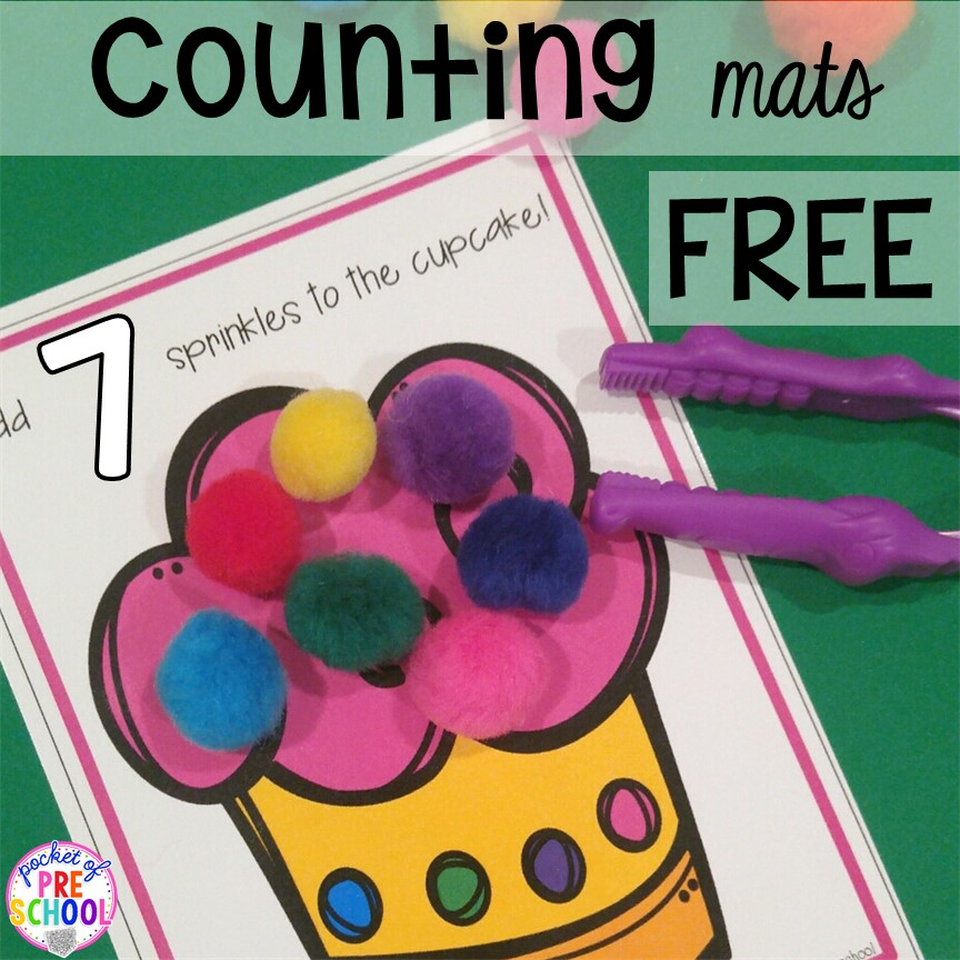 FREE birthday counting play dough mats! Birthday theme activities and centers preschool, pre-k, and kinder students will LOVE!