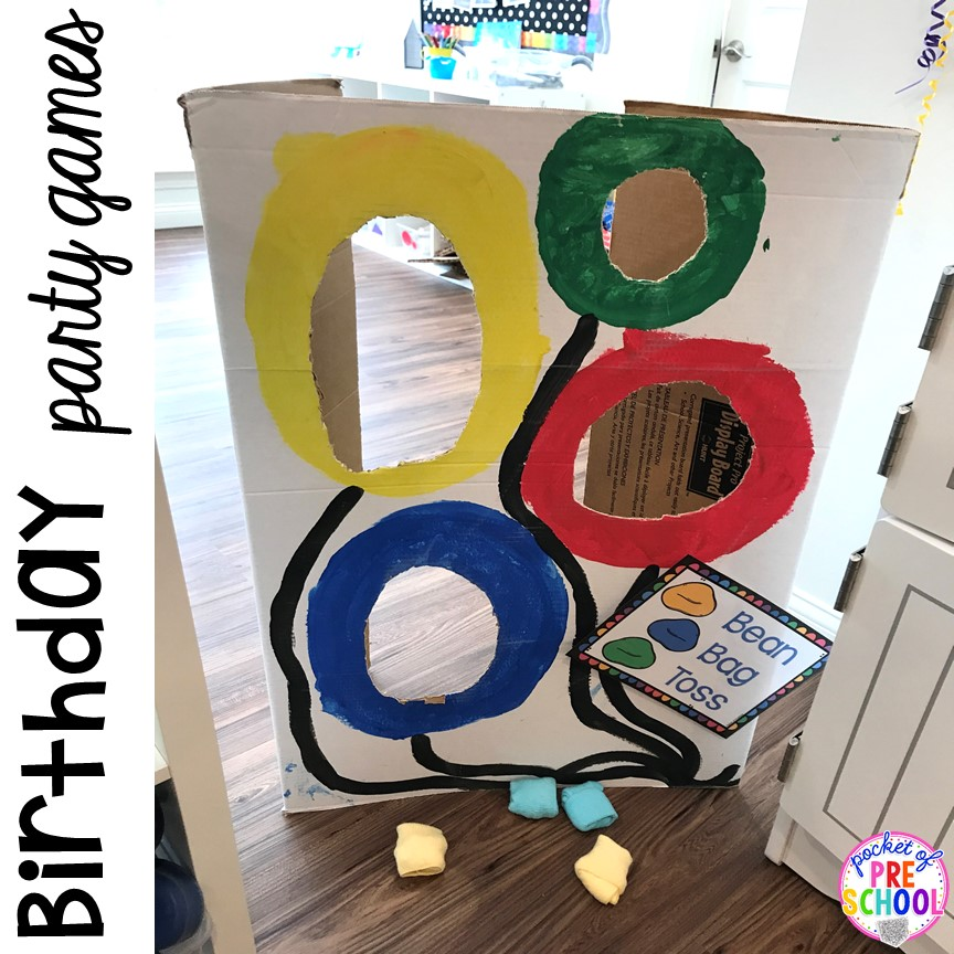 Birthday games for a Birthday Party on dramatic play. Perfect for a preschool & pre-k classroom. #dramaticplay #preschool #pre-k #birthdaytheme