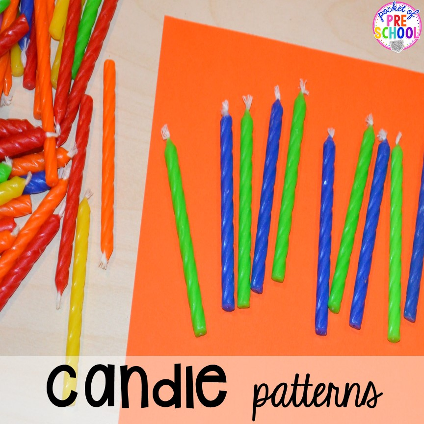 Candle pattern activity for a birthday theme! Birthday theme activities and centers preschool, pre-k, and kinder students will LOVE!