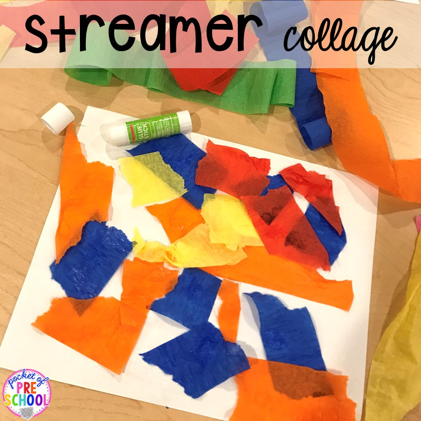 Streamer Art! Birthday theme activities and centers preschool, pre-k, and kinder students will LOVE!