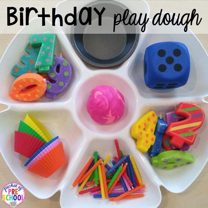 Birthday themed play dough tray! Birthday theme activities and centers preschool, pre-k, and kinder students will LOVE!