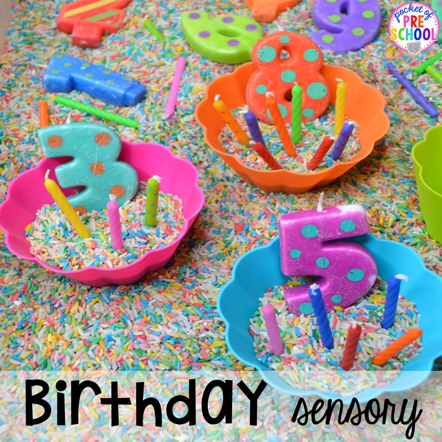 Birthday themed sensory table! Birthday theme activities and centers preschool, pre-k, and kinder students will LOVE!