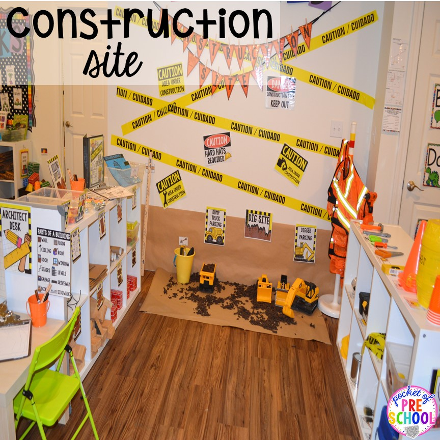 Tips and tricks to make a Construction site in the dramatic play center perfect for preschool, pre-k, and kindergarten. #constructiontheme #preschool #prek #dramaticplay