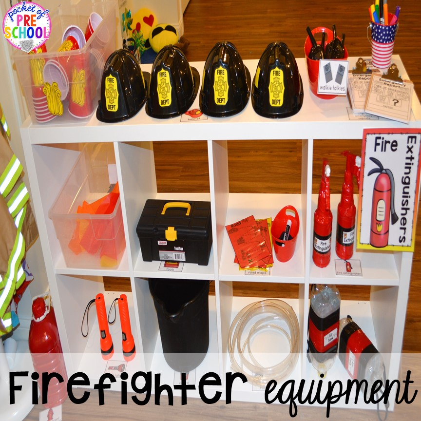 Fire equipment for a Fire Station dramatic play is so much for a fire safety theme or community helpers theme. #dramaticplay #firestationdramaticplay #preschool #prek #firesafteytheme