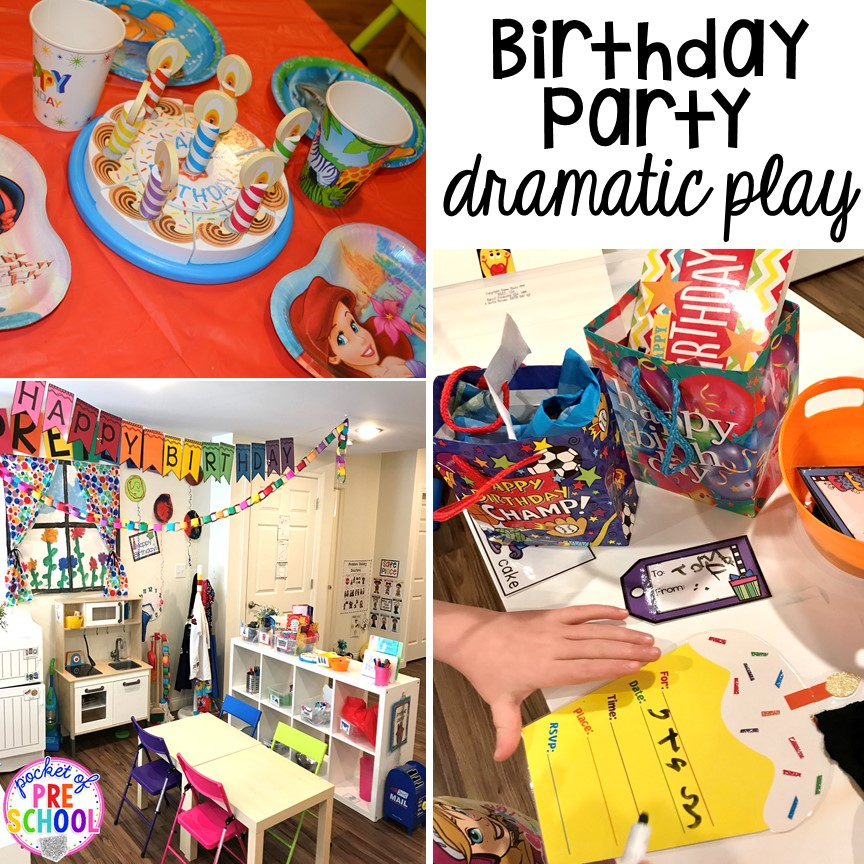 Birthday party dramatic play! Birthday theme activities and centers preschool, pre-k, and kinder students will LOVE!