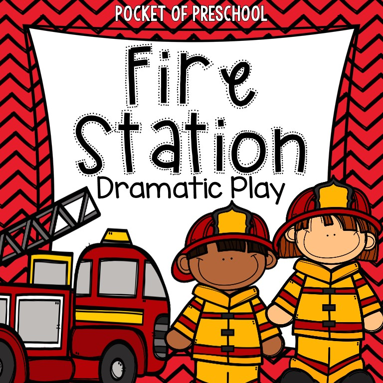 Fire Station Dramatic Play for preschool, pre-k, and kindergarten.