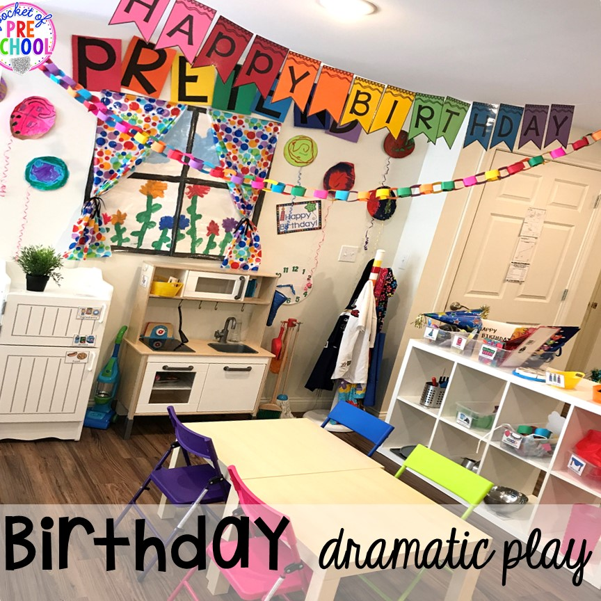 How to set up a Birthday Party dramatic play in a preschool & pre-k classroom. #dramaticplay #preschool #pre-k #birthdaytheme