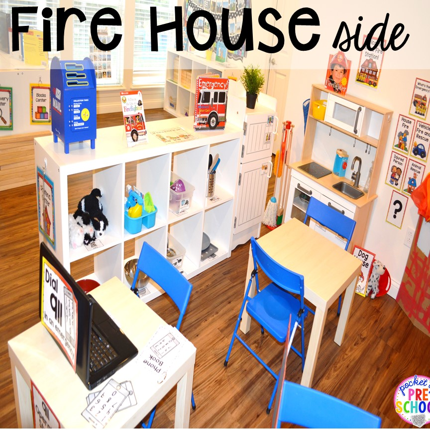Fire house at the Fire Station dramatic play! It's so much for a fire safety theme or community helpers theme. #dramaticplay #firestationdramaticplay #preschool #prek #firesafteytheme