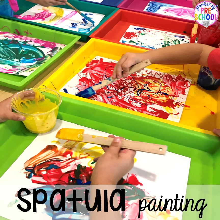 Painting with spatulas! Birthday theme activities and centers preschool, pre-k, and kinder students will LOVE!