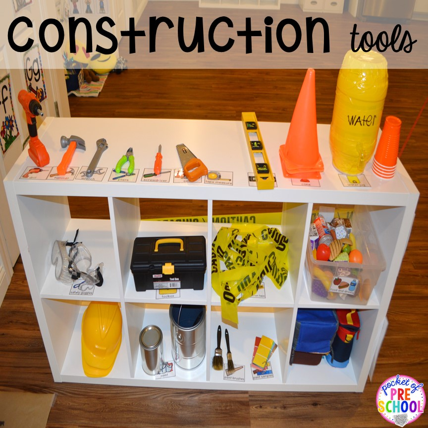 Construction tools for a Construction site dramatic play perfect for preschool, pre-k, and kindergarten. #constructiontheme #preschool #prek #dramaticplay