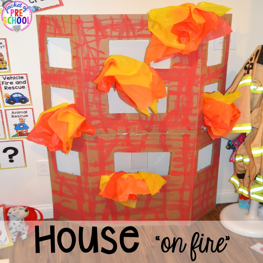 "House on ""fire"" at the Fire Station dramatic play! It's so much for a fire safety theme or community helpers theme. #dramaticplay #firestationdramaticplay #preschool #prek #firesafteytheme"