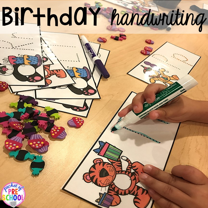 Birthday theme letter tracing mats! Birthday theme activities and centers preschool, pre-k, and kinder students will LOVE!