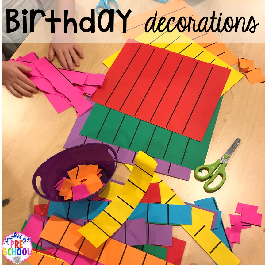 Make birthday decorations for a Birthday Party dramatic play. Perfect for a preschool & pre-k classroom. #dramaticplay #preschool #pre-k #birthdaytheme