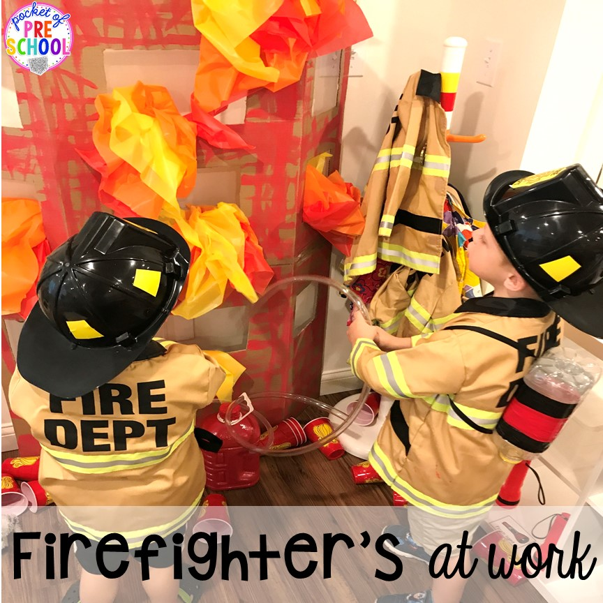 Fire Station dramatic play! It's so much for a fire safety theme or community helpers theme. #dramaticplay #firestationdramaticplay #preschool #prek #firesafteytheme