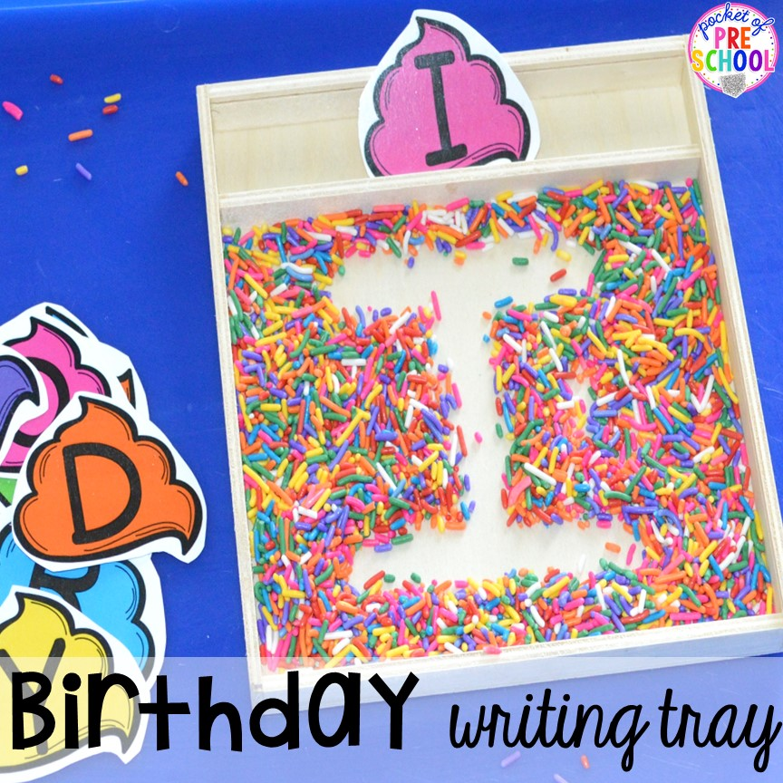 Sprinkle writing tray! Birthday theme activities and centers preschool, pre-k, and kinder students will LOVE!