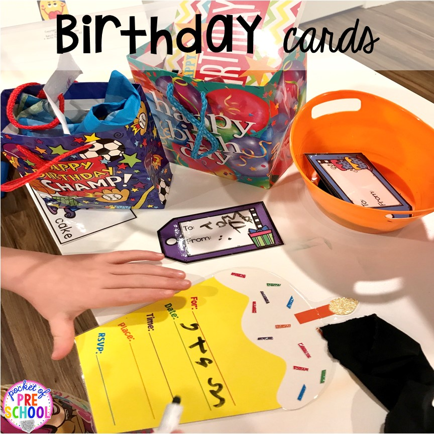 Birthday card making for a Birthday Party dramatic play. Perfect for a preschool & pre-k classroom. #dramaticplay #preschool #pre-k #birthdaytheme