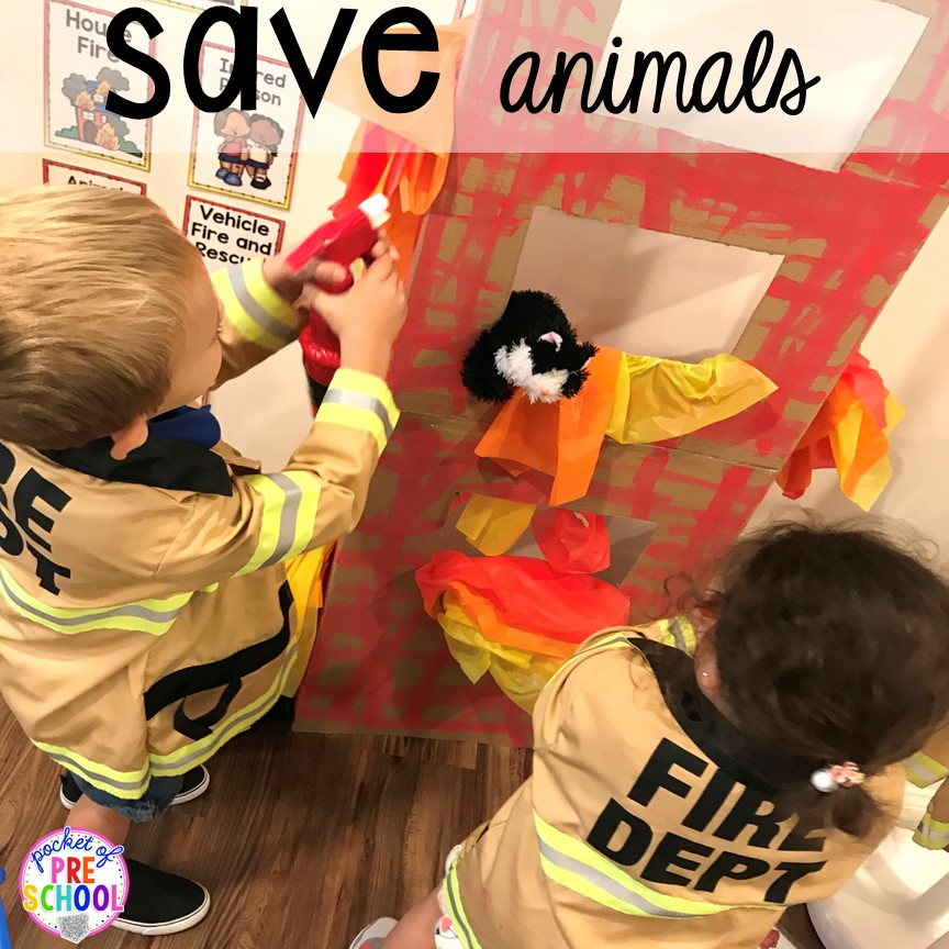 Save animals at the Fire Station dramatic play! It's so much for a fire safety theme or community helpers theme. #dramaticplay #firestationdramaticplay #preschool #prek #firesafteytheme
