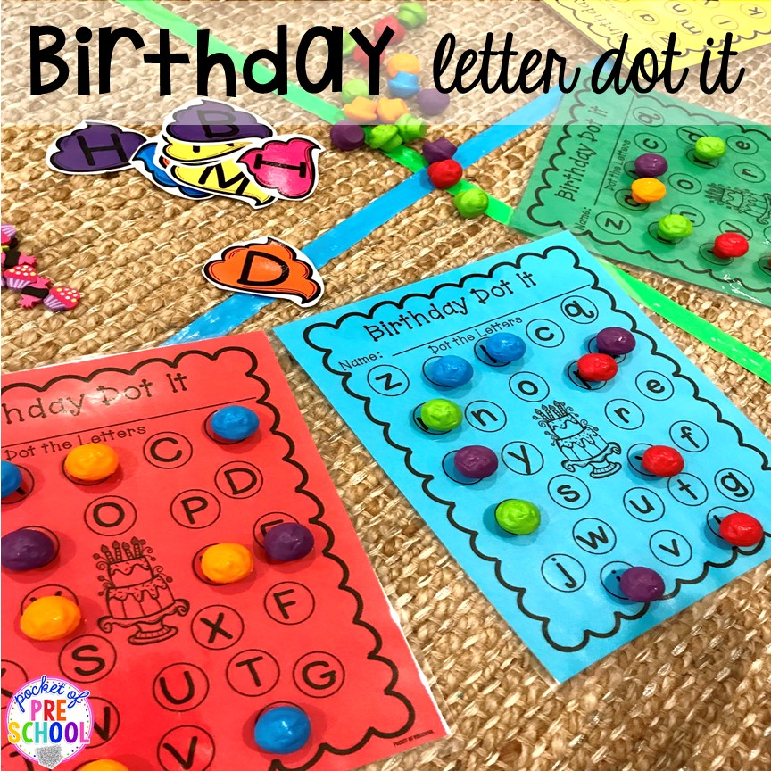 Birthday letter game! Birthday theme activities and centers preschool, pre-k, and kinder students will LOVE! #preschool #birthdaytheme #prek
