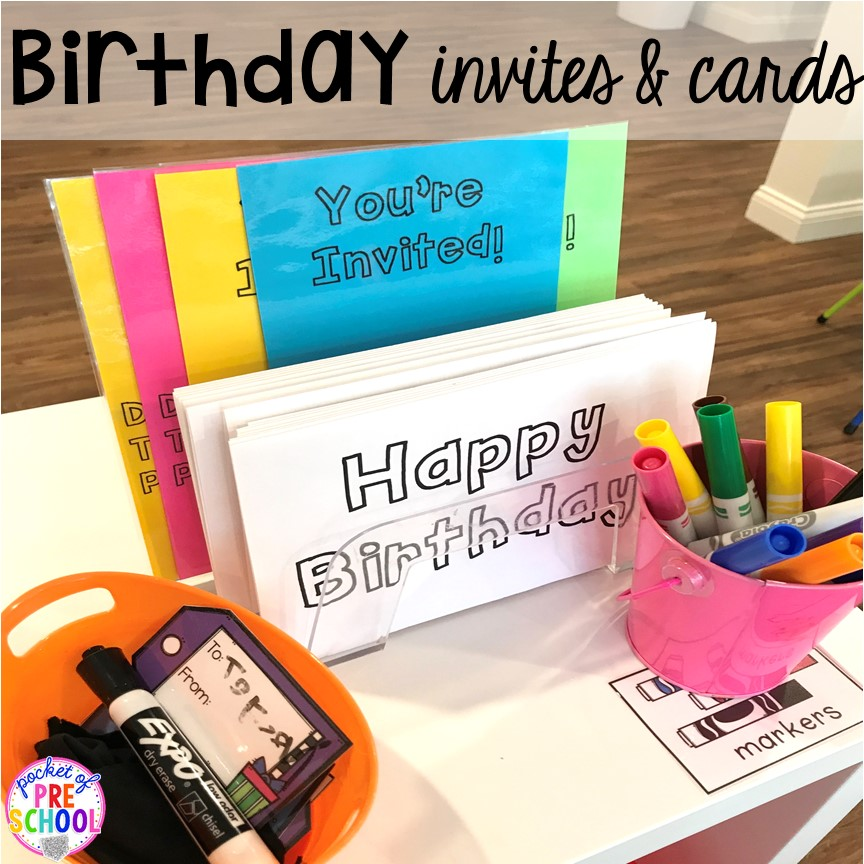 Birthday cardss for a Birthday Party dramatic play. Perfect for a preschool & pre-k classroom. #dramaticplay #preschool #pre-k #birthdaytheme