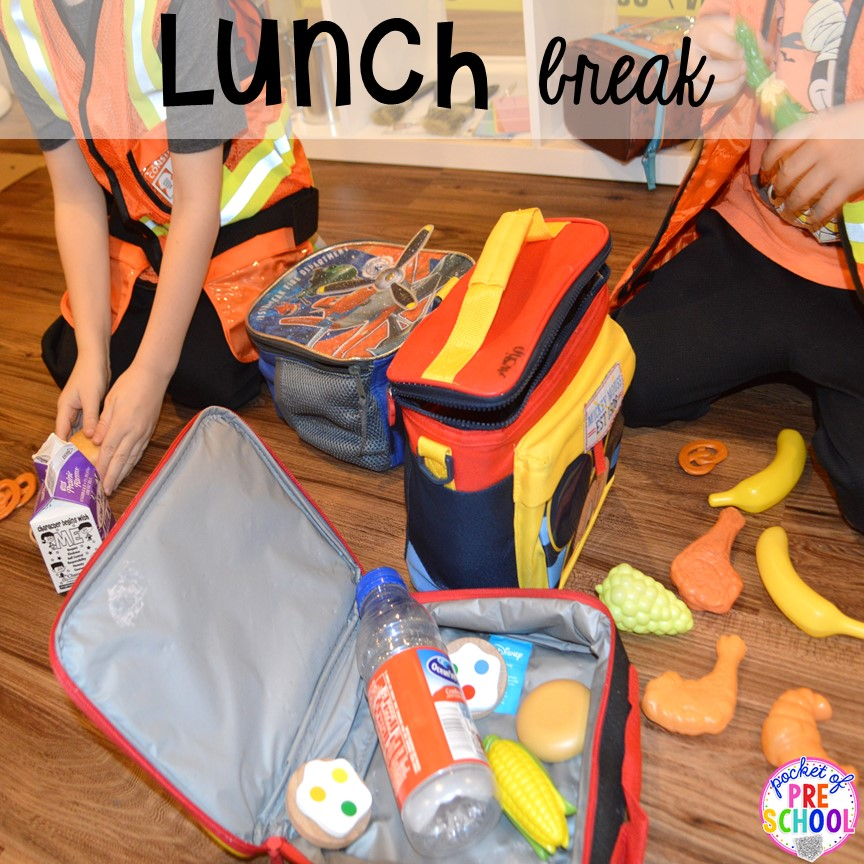 Lunch break at a Construction site dramatic play perfect for preschool, pre-k, and kindergarten. #constructiontheme #preschool #prek #dramaticplay