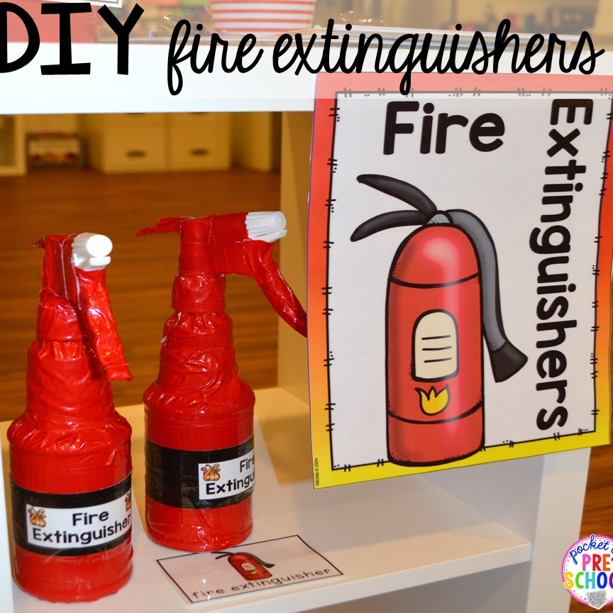 DIY fire extinguishers! Fire Station dramatic play! It's so much for a fire safety theme or community helpers theme. #dramaticplay #firestationdramaticplay #preschool #prek #firesafteytheme
