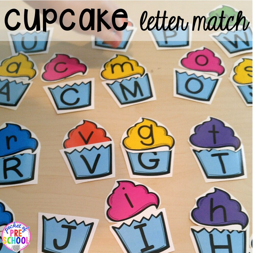 Cupcake letter match game! Birthday theme activities and centers preschool, pre-k, and kinder students will LOVE!